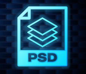 Ein neonfarbenes Symbol für das PSD-Bildformat.