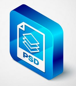 In einem blauen Würfel wird das Symbol für das PSD-Bildformat dargestellt.
