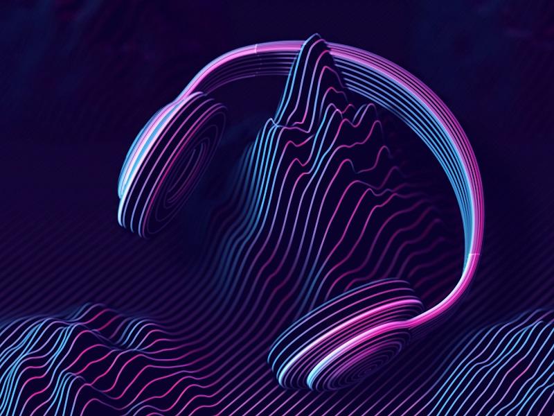 An audio wave mountain listens to headphones.