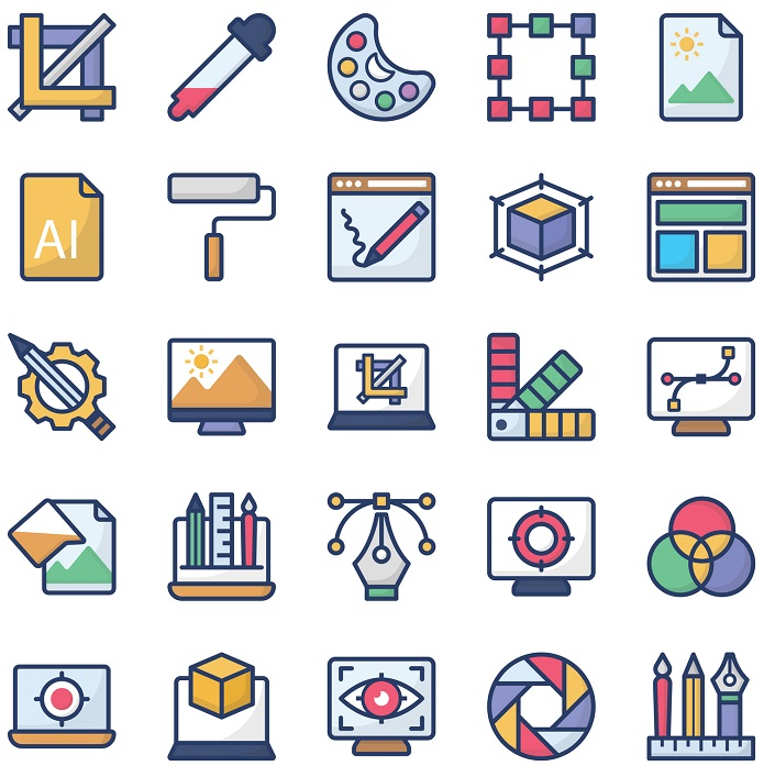 A collection of graphic icons.