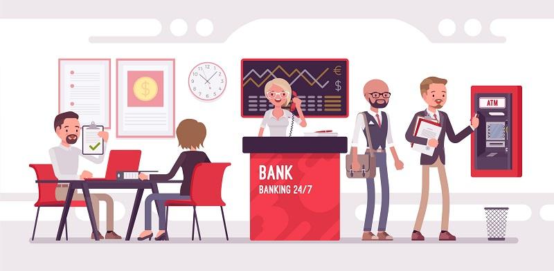 A bank lobby animated.
