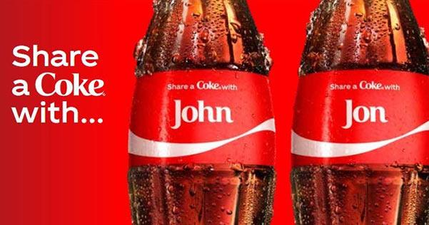 Personalized Coke bottles.