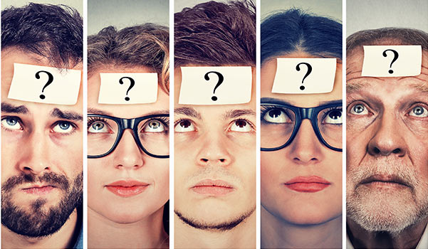 A group of people with question marks on their foreheads.