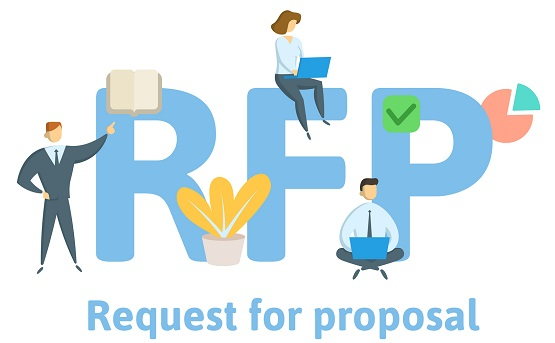 Illustrated people on the letters 'RFP'.