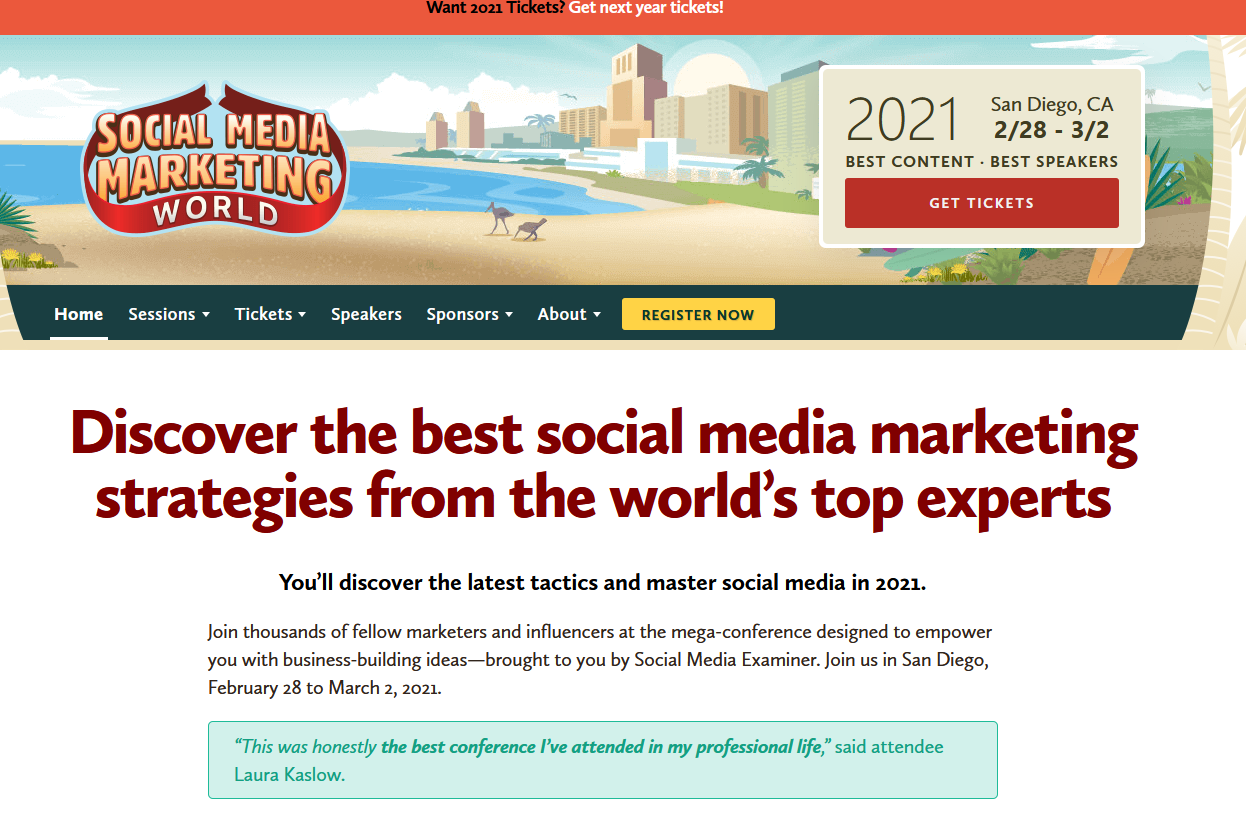 The Social Media Marketing World page.