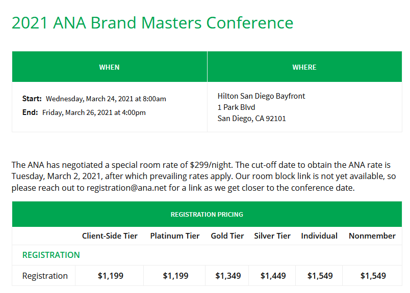 The ANA Brand Masters page.