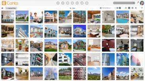 Ein Screenshot der Benutzeroberfläche des DAM-Systems von Canto, mit dem man Bilder sicher teilen kann.