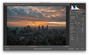 Die Benutzeroberfläche von Adobe Raw, einer Bildverarbeitungssoftware.