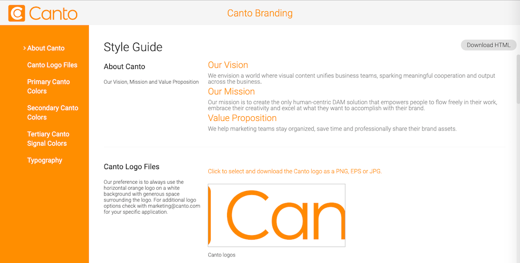 Canto's own style guide