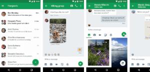 Ein Screenshot der Benutzeroberfläche von Google Hangouts, eine der Slack-Alternativen, auf verschiedenen Mobilgeräten.