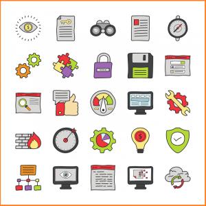 Eine Abbildung von integrierten Symbolen.