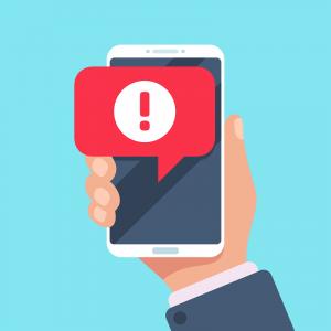 Die Darstellung einer Nachricht auf einem Mobiltelefon.
