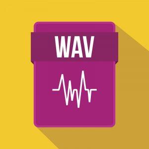 Ein Dateisymbol für das WAV-Audioformat.
