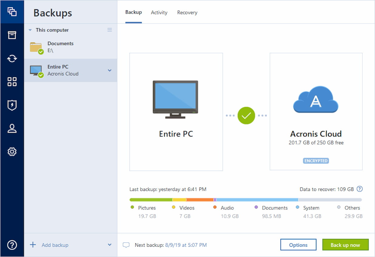 A screenshot of the Acronis program.