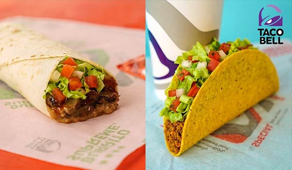 A couple different Taco Bell food items.
