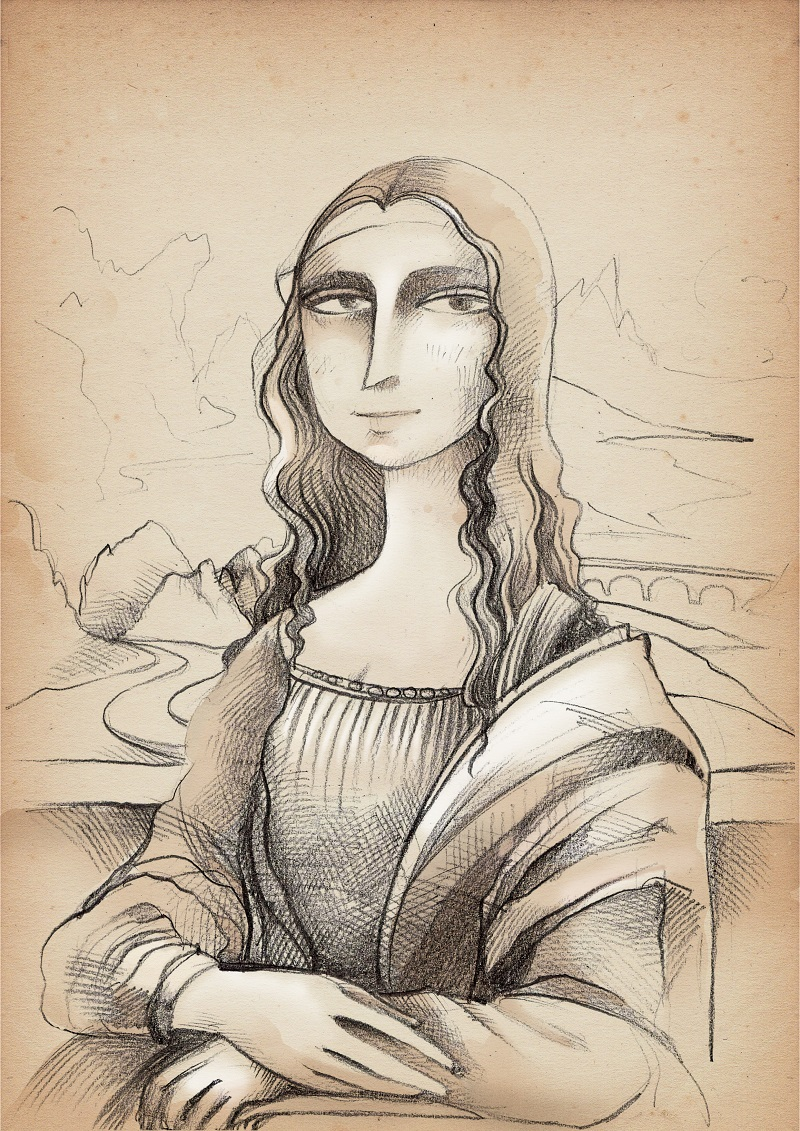 A drawn version of the Mona Lisa painting.