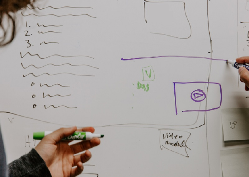 Two workers create an outline on a whiteboard.