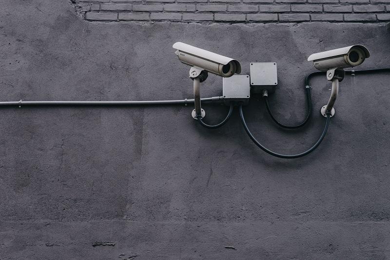 A pair of security cameras.