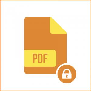 Das Symbol einer PDF-Dokumentdatei mit einem Schloss.