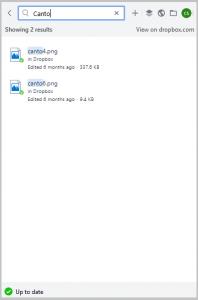 Die Suchfunktion der Dropbox-Benutzeroberfläche, sie ist wichtig für den Dropbox Cloud-Speicher.