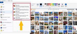 Ein Screenshot der 'Speichern unter'-Funktion in Microsoft Paint, die ein JPEG-Bildformat erstellen kann.