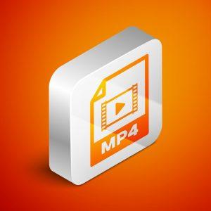 Das Dateisymbol für das MP4-Audioformat in einer 3D-Darstellung.