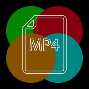 Das Dateisymbol für das MP4-Audioformat vor einem vierfarbigen Hintergrund.