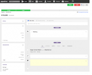 Ein Screenshot der Benutzeroberfläche von Pipedrive.