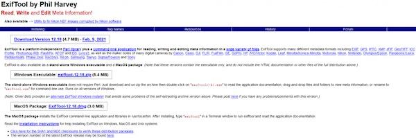 Die Homepage von Exif Tool, einem Programm mit dem man Metadaten von Fotos entfernen kann.