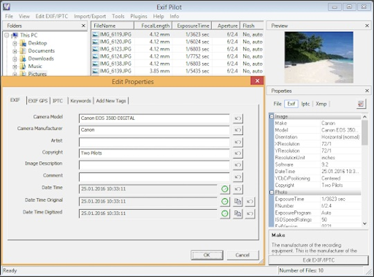 Ein Screenshot des Programms Exif Pilot, eine weitere Alternative, die Metadaten von Fotos entfernen kann.