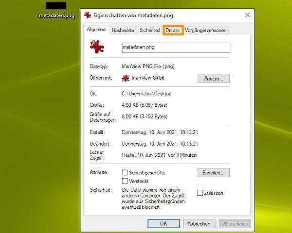Die Registerkarte 'Details' für ein Bild, über die man die Metadaten von Fotos entfernen kann.