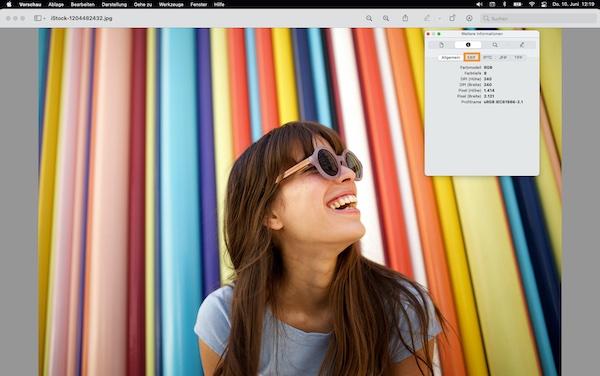 Die Registerkarte für Metadaten auf dem Mac.
