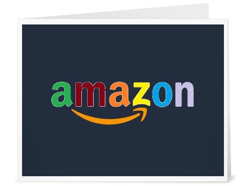 A multi-colored Amazon logo.