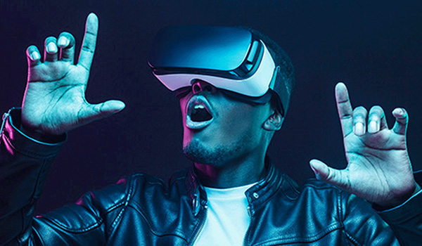 A person using a VR headset.