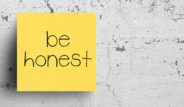 A note that reads 'be honest'.
