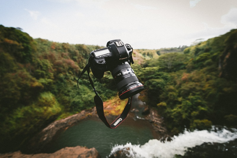 A floating Canon camera above a stream.