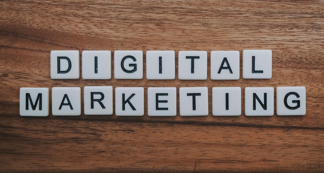 Digital marketing letters on blocks.