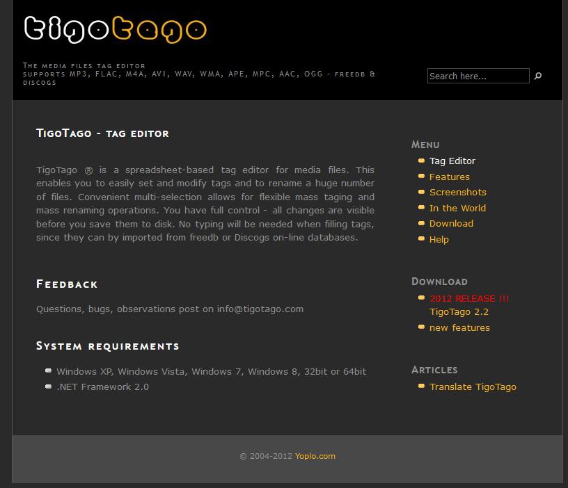 The TigoTago interface.