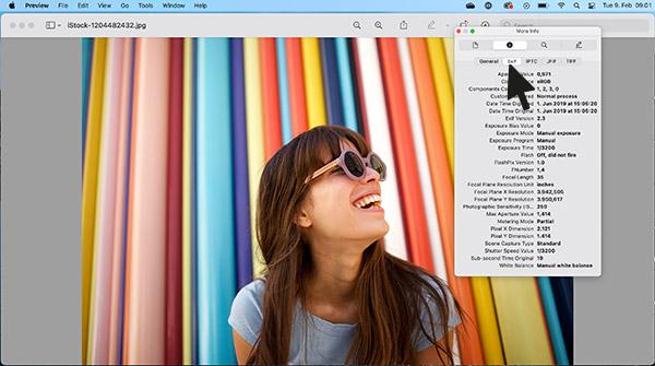 The metadata tab on Mac.