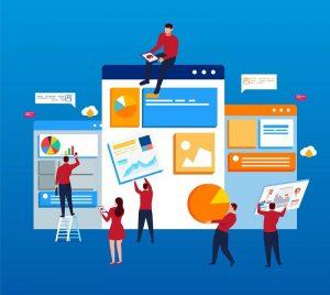 Mehrere animierte Personen arbeiten an einer Webseite.