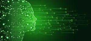 Abbildung einer Person, die aus digitalen Informationen besteht.