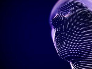 Der Kopf eines Menschen, der aus digitalen Punkten besteht.
