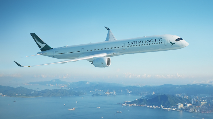 cathay pacific plane in air