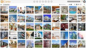 Eine Übersicht von Fotos in der Benutzeroberfläche des DAM-Systems von Canto, einer Fotomanagement-Software.