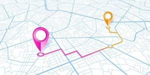 Abbildung eines mit GPS erfassten Standorts auf einer Karte.