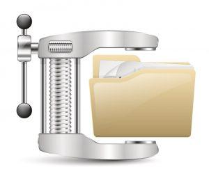Abbildung eines Schraubstocks, der eine Datei zusammendrückt.