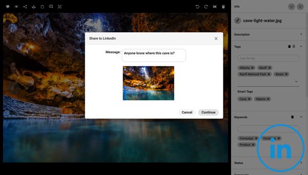 Ein Screenshot, der zeigt, wie man ein Asset von Canto in LinkedIn teilt und mit einer Nachricht ergänzt.