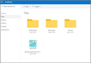 Ein Screenshot der Benutzeroberfläche von Microsoft OneDrive.