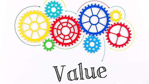 Unter einer Reihe von sich bewegenden Zahnrädern steht das Wort 'Wert'.