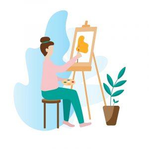 Eine Zeichentrickfrau beim Malen.
